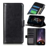 Crazy Horse Leather Wallet Phone Case for Motorola Moto E7 – Black