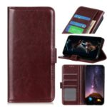 Crazy Horse Leather Wallet Cover Phone Case for Motorola Moto G Power – Brown