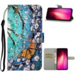 Pattern Printing Light Spot Decor Leather Wallet Phone Shell for Xiaomi Redmi Note 8 – Flower and Butterfly