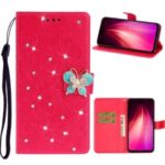 Imprint Flower Rhinestone Butterfly Leather Wallet Phone Case for Xiaomi Redmi Note 8T – Red