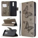 Imprint Butterflies Wallet Stand Flip Leather Case for Xiaomi Redmi K30 – Grey
