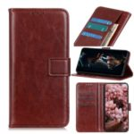 Crazy Horse Wallet Magnetic Leather Cover for Xiaomi Mi 10 5G/Mi 10 Pro 5G – Brown