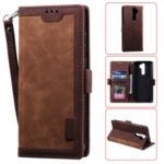 Vintage Splicing Style Wallet Stand Leather Phone Cover for Xiaomi Redmi Note 8 Pro – Brown