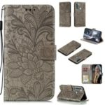 Imprinted Lace Flower Leather Wallet Phone Cover for Xiaomi Redmi Note 8T – Grey