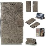 Imprint Lace Flower Magnetic Leather Wallet Case for Samsung Galaxy Xiaomi Mi 10 / Mi 10 Pro – Grey