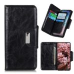Crazy Horse Skin 6 Card Slots Wallet Stand Leather Phone Case for OnePlus 8 – Black
