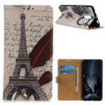 Pattern Printing Wallet PU Leather Style Phone Cover for OnePlus 8 – Eiffel Tower and Letters