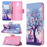 Printing Surface with Wallet Leather Shell for Nokia 2.3 – Tree and Couple Owls
