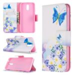 Pattern Printing Leather Wallet Phone Cover Case for Nokia 2.3 – Blue Butterflies
