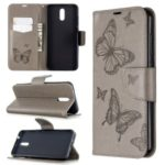 Imprint Butterfly Wallet Flip Leather Stand Mobile Phone Case for Nokia 2.3 – Grey
