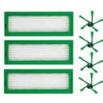 3PCS HEPA Filter + 4PCS Side Brushes Replacement for Vorwerk Kobold VR200 VR300 Robot Vacuum Cleaner