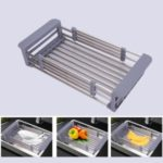 Stainless Steel Telescopic Dish Drying Rack Drain Basket Kitchen Sink Organizer – Random Color