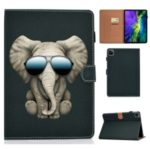 Pattern Printing Card Slots Flip Leather Phone Shell for iPad Pro 11-inch (2020) – Elephant with Glasses