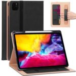 Leather Stand Card Holder Tablet Protective Cover with Elastic Band for iPad Pro 11-inch (2020) – Black