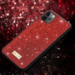 SULADA Dazzling Glittery Surface Leather Coated TPU Back Shell for iPhone 11 Pro Max 6.5 inch – Red