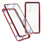 Metal Frame + Tempered Glass Protective Case for Samsung Galaxy S20 – Red