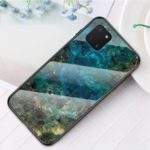 Marble Grain Pattern Tempered Glass PC + TPU Phone Cover for Samsung Galaxy A81/Note 10 Lite – Emerald