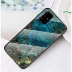 Marble Grain Pattern Tempered Glass PC + TPU Phone Case for Samsung Galaxy A71 – Emerald
