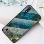 Marble Texture Protection Tempered Glass + PC + TPU Phone Case for Samsung Galaxy A01 – Emerald