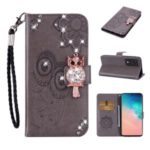 Imprint Flower Owl Rhinestone Decor Leather Wallet Case for Samsung Galaxy S20 Plus – Grey