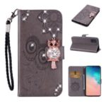 Rhinestone Decor Imprint Owl Leather Case Wallet Stand Phone Cover for Samsung Galaxy A51 – Brown
