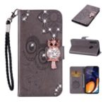 Imprint Flower Owl Rhinestone Decor Leather Wallet Stand Case for Samsung Galaxy A21 – Grey