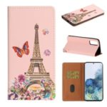 Pattern Printing Leather Cover Stand Stylish Phone Casing for Samsung Galaxy S20 – Eiffel Tower