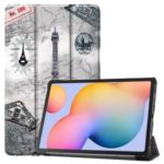 Pattern Printing Tri-fold Stand Leather Tablet Shell for Samsung Galaxy Tab S6 Lite – Eiffel Tower