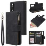 Zipper Pocket Multiple Card Slots Leather Stand Case for Samsung Galaxy S20 Plus – Black