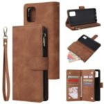 Zipper Pocket Leather Wallet Case for Samsung Galaxy A51 – Brown