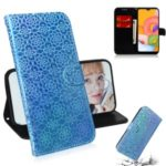 Flower Pattern Wallet Leather Stand Case for Samsung Galaxy A01 – Blue