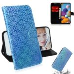 Flower Pattern Magnetic Leather Stand Case for Samsung Galaxy A21 – Blue