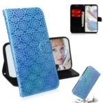 Flower Pattern Leather Wallet Stand Case for Samsung Galaxy A70e – Blue