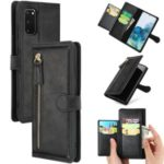 Zipper Pocket Wallet Stand Protection Flip Leather Phone Cover for Samsung Galaxy S20 – Black