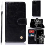 Premium Vintage Leather Wallet Case for Samsung Galaxy S20 Ultra – Black