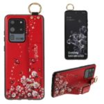 Flower Pattern Rhinestone Decor TPU Phone Casing with Hand Strap for Samsung Galaxy S20 Ultra – Red