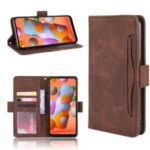 PU Leather Wallet Phone Casing with Multiple Card Slots for Samsung Galaxy M11 – Brown