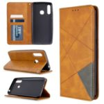 Geometric Pattern Stand Leather Card Holder Case for Samsung Galaxy A70e – Brown