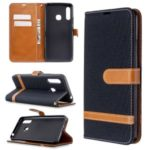 Assorted Color Jeans Cloth Leather with Wallet Case for Samsung Galaxy A70e – Black