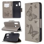 Imprint Butterflies Wallet Stand Flip Leather Case for Samsung Galaxy A70e – Grey