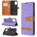 Assorted Color Jeans Cloth Leather Phone Case for Samsung Galaxy A41 (Global Version) – Purple