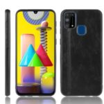 PU Leather Coated PC + TPU Cell Phone Case for Samsung Galaxy M31 – Black