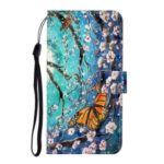 Light Spot Decor Patterned PU Leather Wallet Cover Phone Shell for Samsung Galaxy A21 – Butterfly and Flower Tree