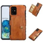 SHOUHUSHEN Retro Style Card Slots PU Leather Coated Hard PC Case for Samsung Galaxy S20 Plus – Brown