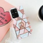 Marble Pattern Electroplating IMD TPU Shell with Ring Kickstand for Samsung Galaxy S20 Plus – Style A