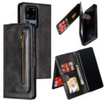 Stylish Zipper Pocket 9 Card Slots Leather Wallet Shell Case for Samsung Galaxy S20 Ultra – Black