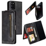 Zipper Pocket 9 Card Slots Leather Wallet Case for Samsung Galaxy S20 Plus – Black