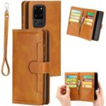 Multiple Card Slots Leather Shell Case Cover for Samsung Galaxy S20 Ultra – Brown