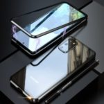 LUPHIE Magnetic Metal Frame + Tempered Glass Back Phone Case Cover for Samsung Galaxy S20 Plus – Black
