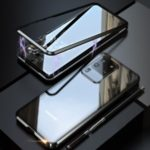 LUPHIE Magnetic Metal Frame + Tempered Glass Back Phone Case for Samsung Galaxy S20 Ultra – Black
